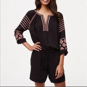 Loft black embroidered romper xs
